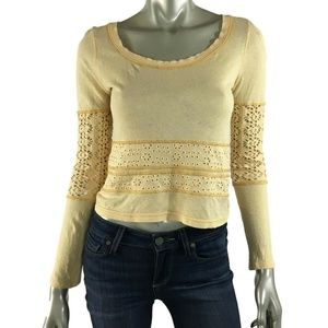 We The Free People Lace Sleeve Top, XS